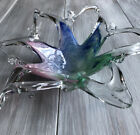 Stretched Art Glass bowl Dish starfish pink blue green Murano 10 Wide 3high