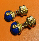 Vintage Anne Klein Long Gold Plated Blue Glass Earrings