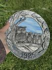 Annual Plate M A RICKER PEWTER  SLAG GLASS 1986 Blue Glass With Owls
