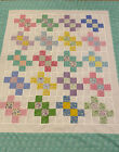 Quilt Top Colorful  Mint Green 46 X 55 Patchwork Puzzle BabyLapDecor USA