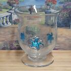 Art Glass Clear Vase with Bubbles and Aqua Glass Starfish Accents