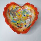 Murano Art Glass Cased Scalloped Edge Heart Bowl Colorful Silver Leaf Toso FLAW