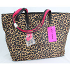 Betsey Johnson Nylon Gone Wild Tote Bag Brown Leopard Print Womens One Size NWT