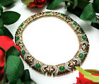 Vtg PANETTA Signed NOS Moghul Green Glass Rhinestone Gold Plated Collar Necklace