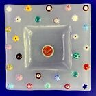 MURANO Italy Fused Glass Plate Tray Small Trinket Dish 4 Square Pretty Flowers
