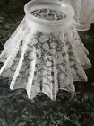 2 Antique Victorian Floral Etched fluted Shade 3 1 2 tall 2 1 4 base opening