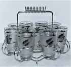 Vtg LIBBY MCM 8 Silver Leaf Frosted Glasses Ice Bucket Round Coiled Metal Tray