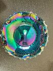 Vintage Indiana Blue Iridescent Ruffled Carnival Glass Plate Diamond Point Star