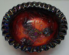 Arthur Lorch Imperial Red Carnival Glass 3 Leg Ribbon Edge Candy Bowl Roses