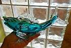 Vintage Murano Glass FISH Vase Sommerso Confetti Blue Green Gold Dust