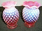 2 FENTON GLASS SMALL CRANBERRY HOBNAIL OPALESCENT VASES 3 1 2 TALL 250