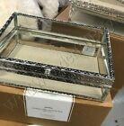 Pottery Barn Antique Silver Jewelry Box Small Glass Top New