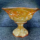 Rare Antique US Glass Co Whirling Star Carnival Glass Marigold Punch Bowl Stand