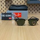 RAY BAN Sunglasses CLUBMASTER RB3016 BLACK Frame Green Lens