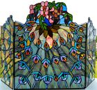 Stained Glass Fireplace Screen Peacock Feathers