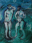 3 Offers Received Fred Yates 1922 2008 Large Acrylic on canvas Signed Nude