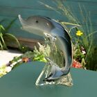 Large 50s Vintage Murano Somerso Glass Dolphin Sculpture Figurine