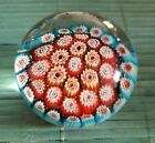 VINTAGE VERY PRETTY FLORAL RED CANE MURANO MILLEFIORI PAPERWEIGHT