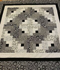 Quilt Top Log Cabin Gray  Black 60 X 60 Bed Baby Couch Decor PiecedUSA