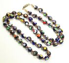 Vintage Hand Knotted Venetian Murano Blue Millefiori Glass Bead Necklace 29
