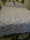 Home Classics Blue  White Patterned Quilt  2 Shams Full Queen 100 Cotton