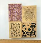 Lot 4 Stamps Butterfly Swirls Sunflower Houser Inkadinkado Holly Berry Crafts
