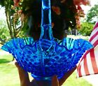 Fenton Hobnail Basket Colonial Blue Crimped Ruffled Edge Paneled Rope EXCELLENT