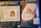 Sunset Baby Hugs Cuddly Bear Birth Record  Quilt Set Counted Cross Stitch Kit