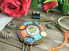 Vtg NATIVE AMERICAN Sterling Silver Jewelry LOT 7 Beaded Necklace 925 Gold Wash