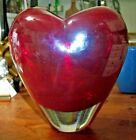 VINTAGE Murano Glass Red  Clear Heart Shaped Vase HEAVY