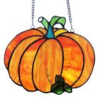 Stained Glass Window Panel Tiffany Style Fall Pumpkin Orange SPECIAL SALE PRICE