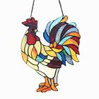 Stained Glass Window Panel Tiffany Style Colorful Red Rooster SPECIAL SALE PRICE