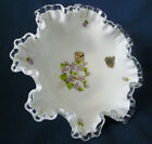 Fenton Milk Glass Silver Crest VIOLETS IN SNOW Ruffled 8 wide Compote BOWL