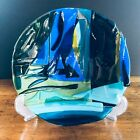 Studio Art Glass Hand Crafted Blue Slabs Fused Glass Dish Bowl Signed CJ C231