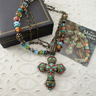 Sweet Romance Mayan Cross Faux Turquoise Beaded 20 Necklace by Shelley Cooper