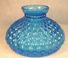 Vintage Blue Glass Quilted Diamond Beaded 10 Inch Lamp Shade 975 Fitter