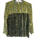 Dosa Womens Sz 1 Tunic Top Two Tone Green Cut Out Velvet On Sheer Georgette