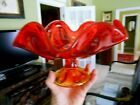 Viking Glass Mid Century Footed Compote Red Orange Amberina