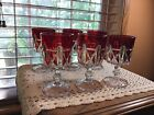 6 antique EAPG US Glass Triple Triangle ruby water beverage goblet glasses 1885