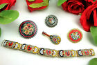 Vintage ALL SIGNED ITALY Venetian Murano MICROMOSAIC Bracelet Brooch Jewelry LOT