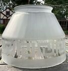 Vintage Satin Glass Lamp Shade Greek Key Design Clear Frosted 4