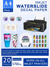 Water Slide Decal Paper Inkjet 20 Sheets A4 Size Premium CLEAR