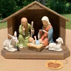 Vintage 1986 Lefton China Nativity Scene 05679 with Wood Stable  Tag
