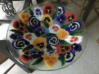 Peggy Karr Fused Art Glass Pansy 15 Large Console Bowl Pansies Brilliant