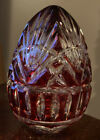 Bohemian Art Glass Cut Crystal 5 RED EGG Paperweight hollow Exquisite