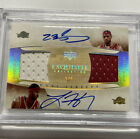 2005-06 Lebron James Exquisite Collection On Card Dual Jersey Auto 5 BGS