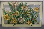 Floral Hummingbird Stained Glass Window Panel Handcrafted 165x105