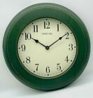 Sunset Time Large 14 Clock Hunter Green Distressed Wood Glass Cover