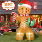 8FT Inflatable Gingerbread Man with LED Lights Yard Outdoor for Christmas Decor