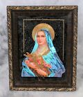 Antique Madonna Reverse Hand Painted Glass Blue Morpho Butterfly Wings Picture